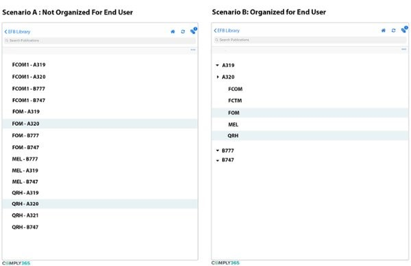 efb data structure for end user experience